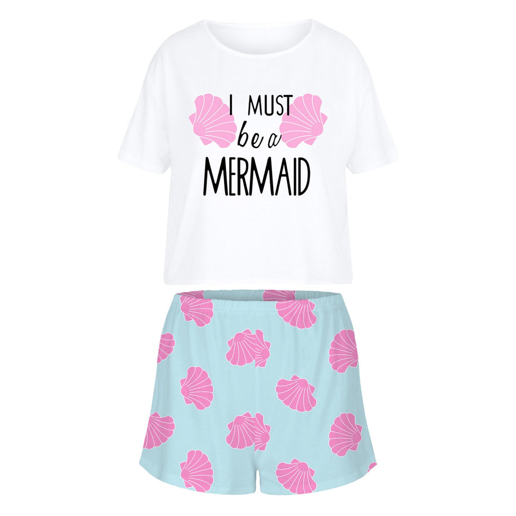 Women's I Must Be A Mermaid Tees and Shorts Set  Home Leisure Suit