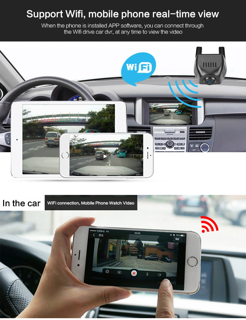 Car DVR WiFi Car Camera Full HD 1080P Dash Cam Video Recorder App Control