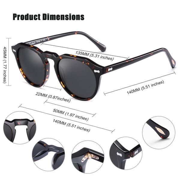 Vintage Polarized Sunglasses for Women and Men, 100% UV400 Protection
