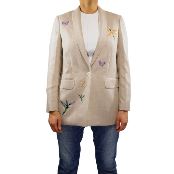 Embroidered 100% Cashmere Blazer