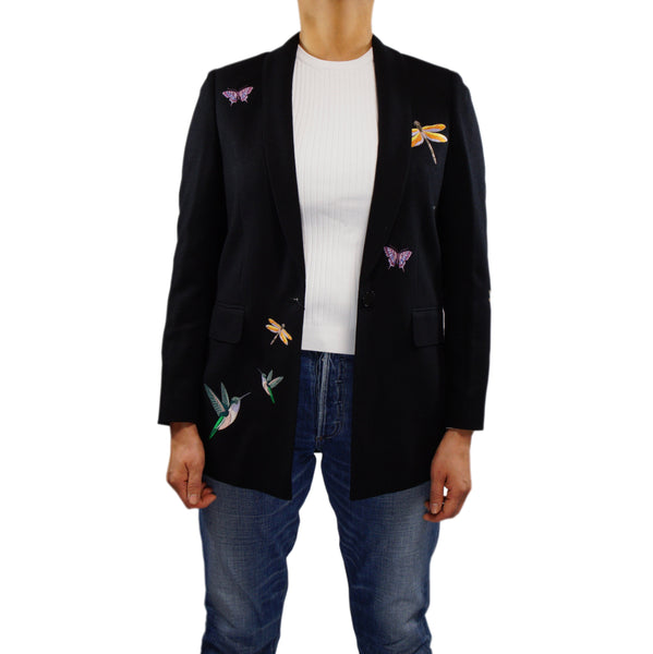 Embroidered Cashmere Silk Blazer