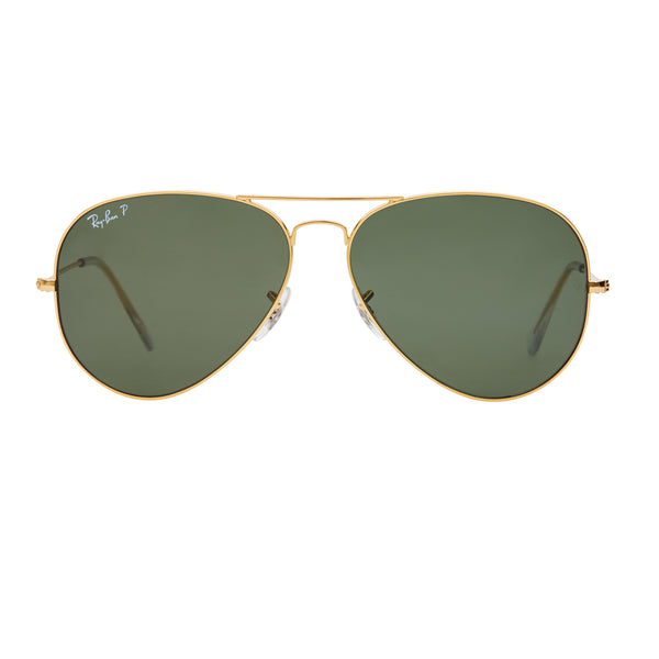 Ray-Ban Aviator Polarized RB3025 Large Sunglasses - Gold/Green Front