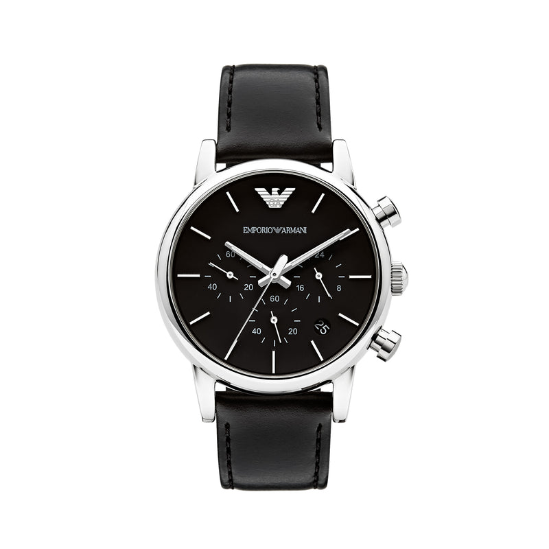 Emporio Armani Classic Chronograph Watch AR1733 Black - Front