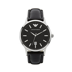 Emporio Armani Classic Leather Watch AR2411 Black - Front