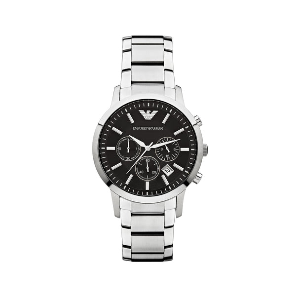 Emporio Armani Men's Classic Chronograph Watch AR2434 - Black/Silver Front