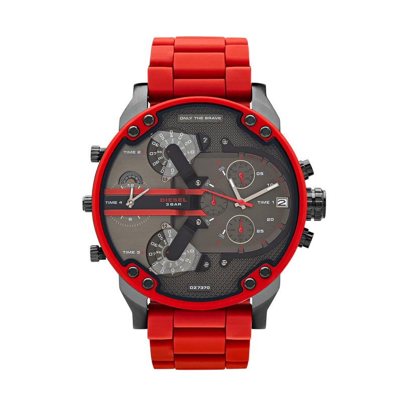 Diesel Mr. Daddy 2.0 Men's Chronograph Watch Red/Gunmetal DZ7370 - Front