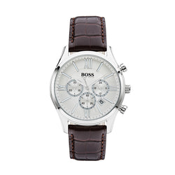 Hugo Boss Ambassador Chronograph Watch Brown/Silver 1513195 - Front