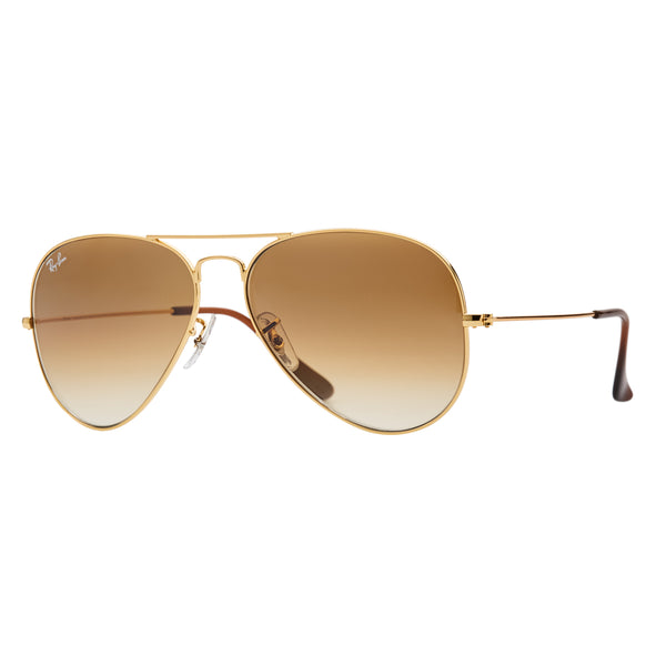 Ray-Ban Aviator Gradient RB3025 Sunglasses - Light Brown/Gold Angle