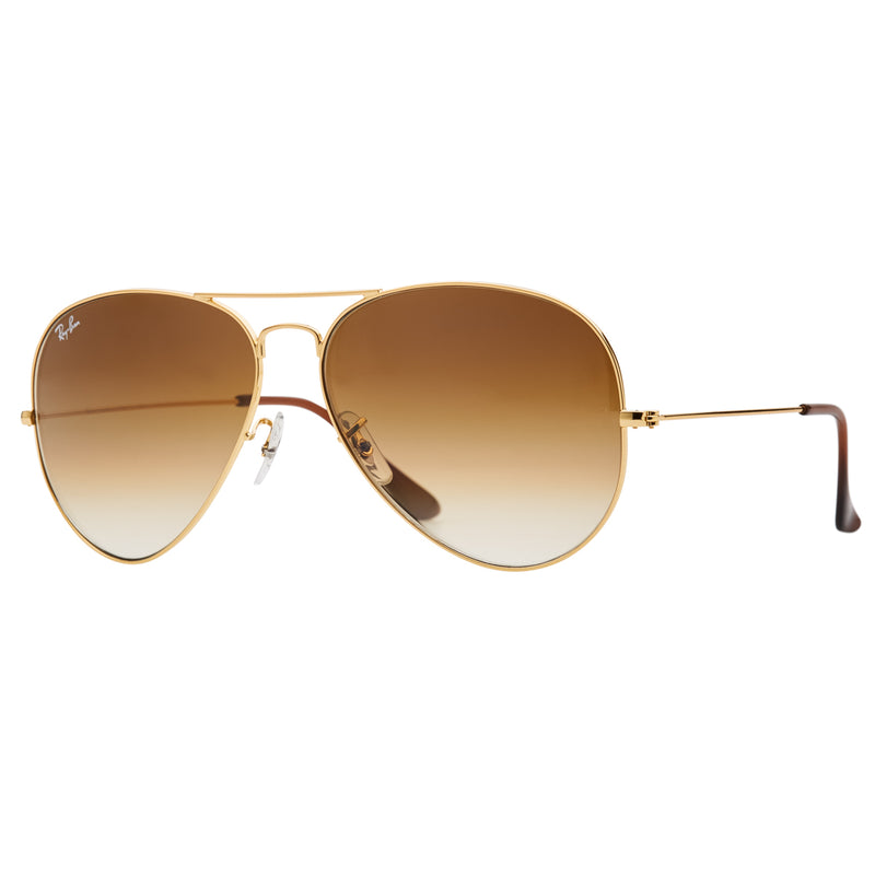 Ray-Ban Aviator Gradient RB3025 Large Sunglasses - Light Brown/Gold Angle