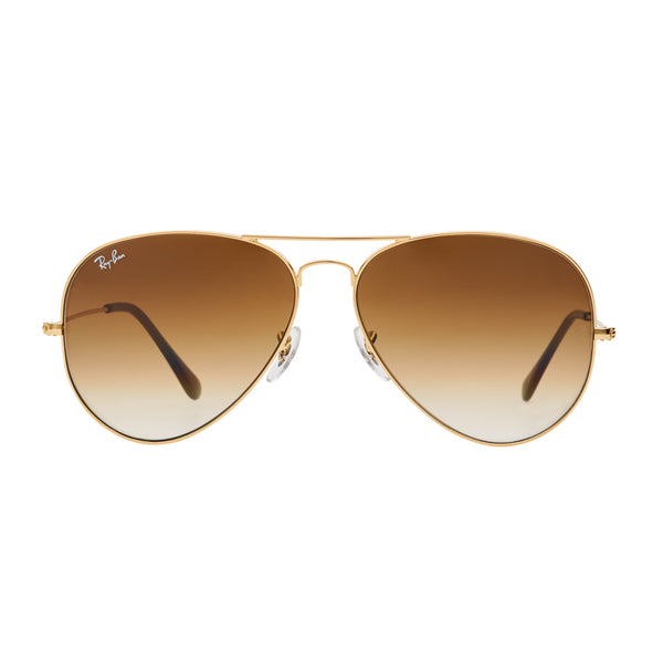 Ray-Ban Aviator Gradient RB3025 Large Sunglasses - Light Brown/Gold Front