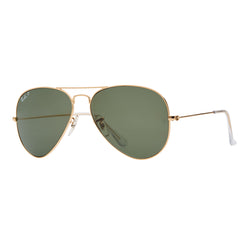 Ray-Ban Aviator Polarized RB3025 Sunglasses - Gold/Green Angle