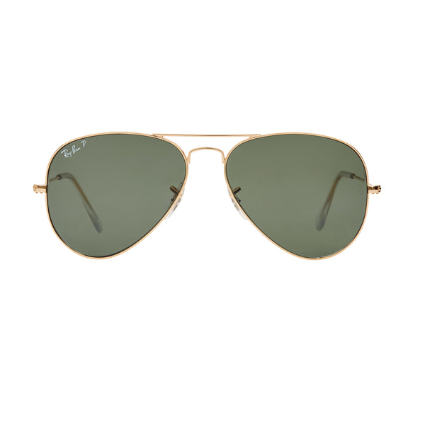 Ray-Ban Aviator Polarized RB3025 Sunglasses - Gold/Green Front
