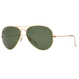Ray-Ban Aviator Polarized RB3025 Large Sunglasses - Gold/Green Angle