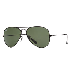 Ray-Ban Aviator Polarized RB3025 Sunglasses - Black/Green Angle