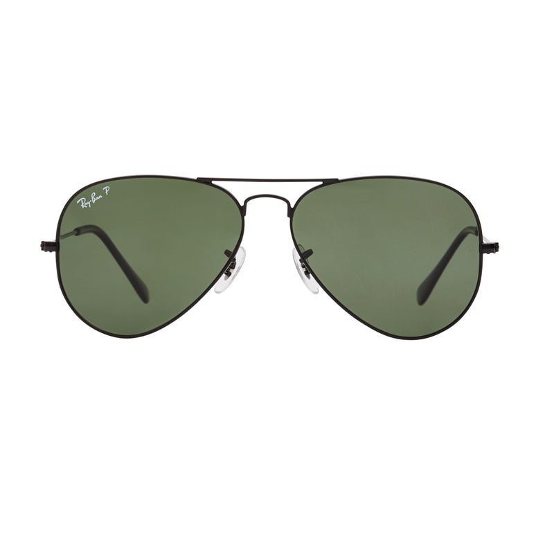 Ray-Ban Aviator Polarized RB3025 Sunglasses - Black/Green Front