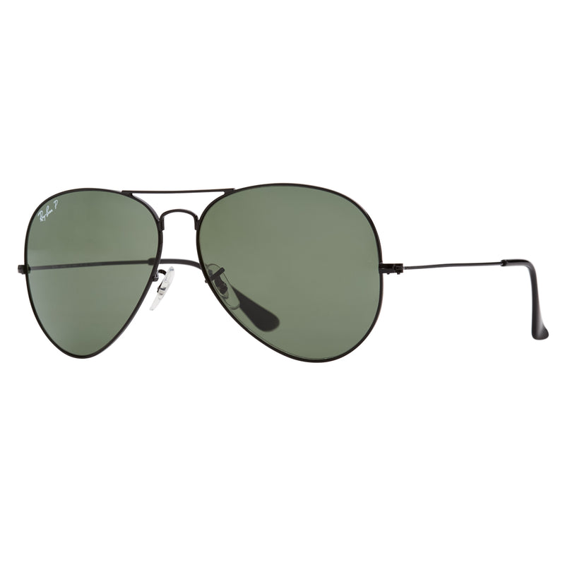 Ray-Ban Aviator Polarized RB3025 Large Sunglasses - Black/Green Angle