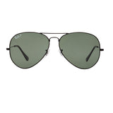 Ray-Ban Aviator Polarized RB3025 Large Sunglasses - Black/Green Front