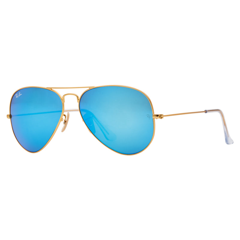 Ray-Ban Aviator Flash RB3025 Sunglasses - Blue/Gold Angle