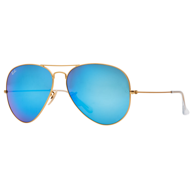 Ray-Ban Aviator Flash RB3025 Large Sunglasses - Blue/Gold Angle