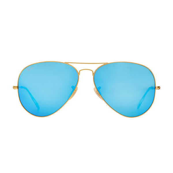 Ray-Ban Aviator Flash RB3025 Large Sunglasses - Blue/Gold Front