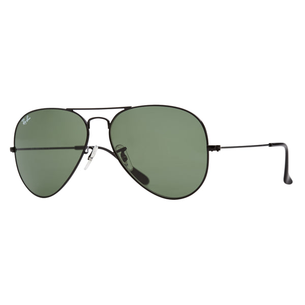 Ray-Ban Aviator RB3025 Sunglasses - Black/Green Angle
