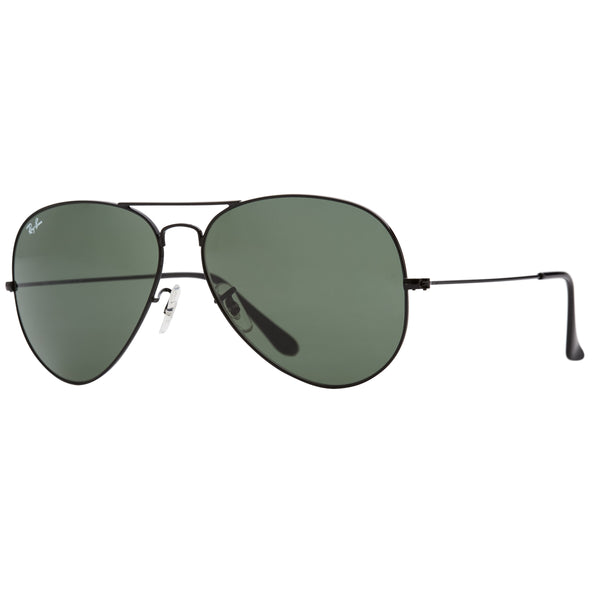 Ray-Ban Aviator RB3026 Large Sunglasses - Black/Green Angle