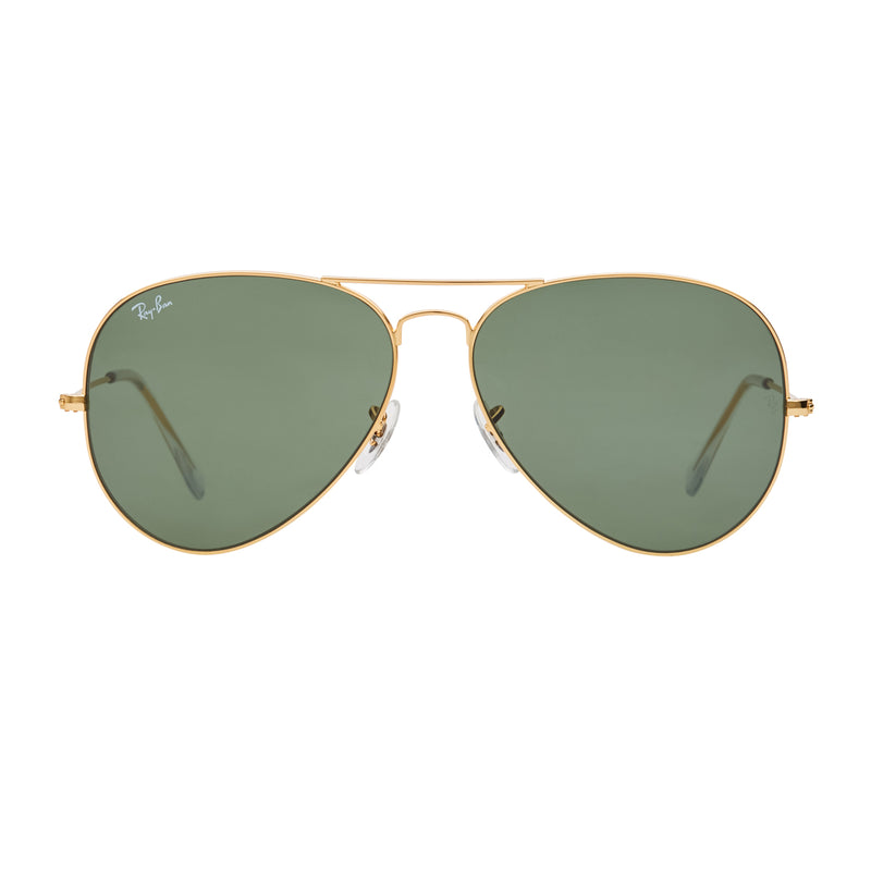 Ray-Ban Aviator RB3026 Large Sunglasses - Gold/Green Front