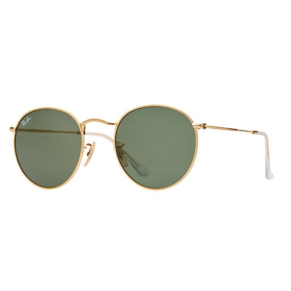 Ray-Ban Round RB3447 Sunglasses - Gold/Green Angle