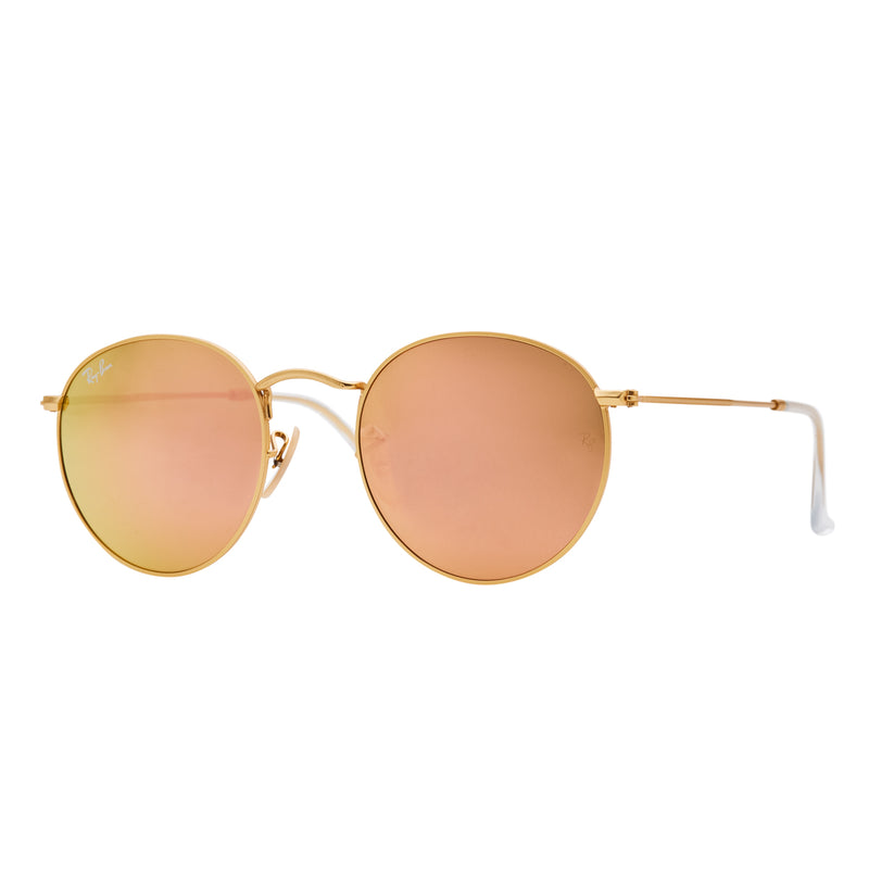 Ray-Ban Round Flash RB3447 Sunglasses - Pink/Gold Angle
