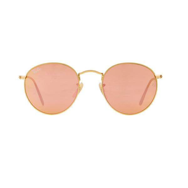 Ray-Ban Round Flash RB3447 Sunglasses - Pink/Gold Front