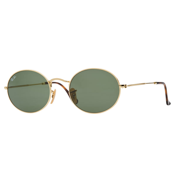 Ray-Ban Oval RB3547N Sunglasses - Gold/Green Angle
