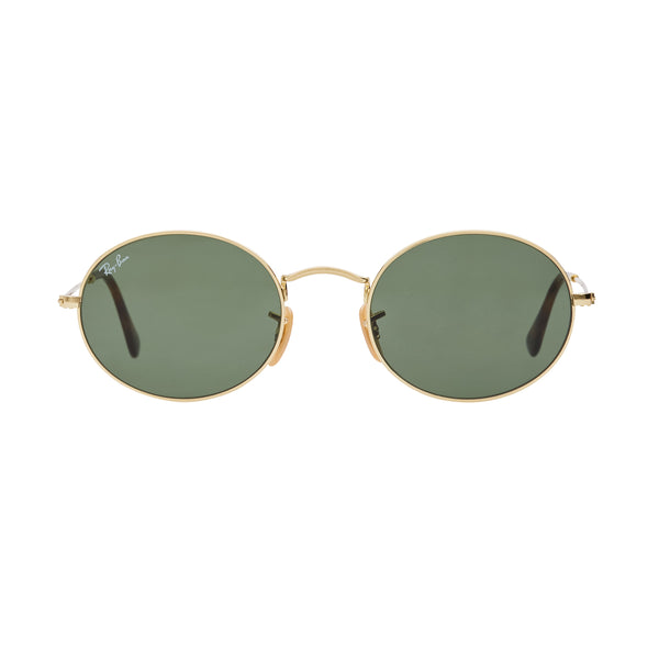 Ray-Ban Oval RB3547N Sunglasses - Gold/Green Front