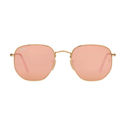 Ray-Ban Hexagonal RB3548N Sunglasses - Gold/Pink Front