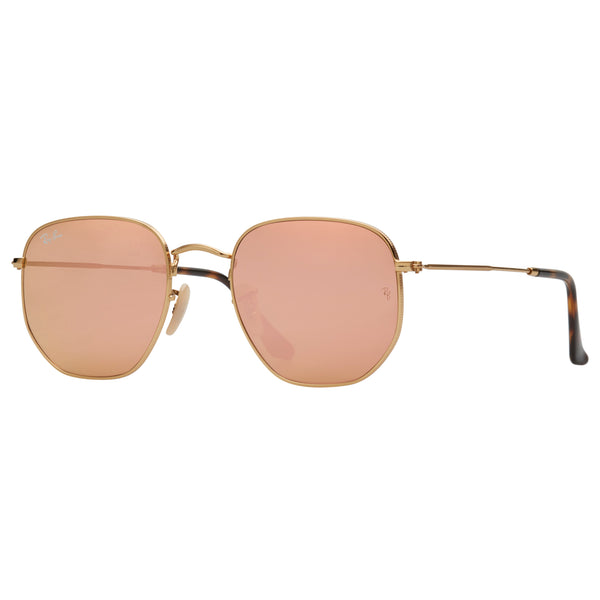 Ray-Ban Hexagonal RB3548N Sunglasses - Gold/Pink Angle