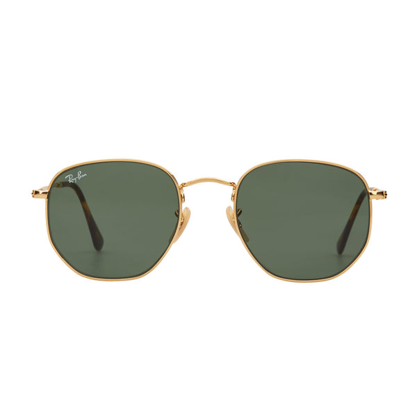 Ray-Ban Hexagonal RB3548N Sunglasses Gold/Green - Front