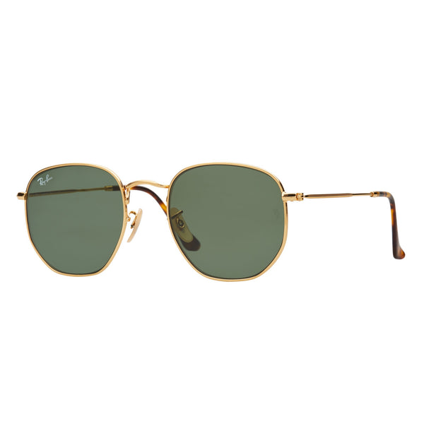 Ray-Ban Hexagonal RB3548N Sunglasses Gold/Green - Angle