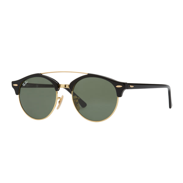 Ray-Ban Clubround Double Bridge RB4346 Sunglasses Black/Green - Angle