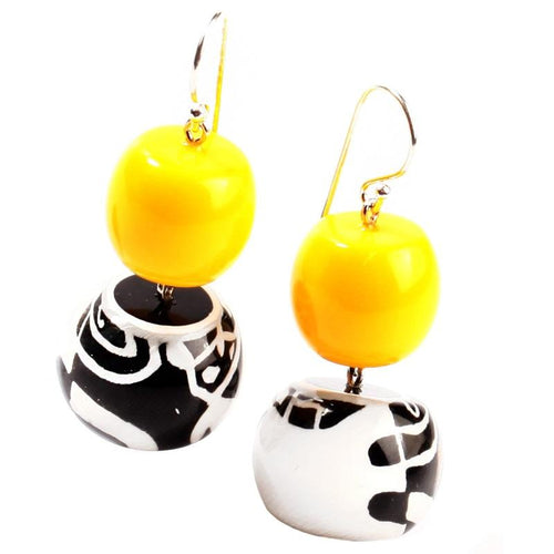 Zsiska Yellow, Black & White Abstract Earrings