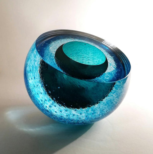 Glass 'Geode' in Blue