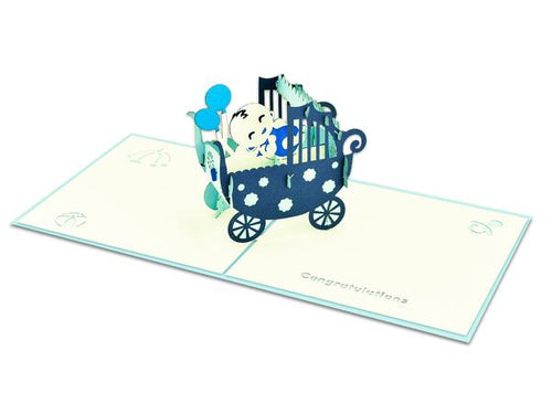 Pop Up Baby Boy in Carriage Card
