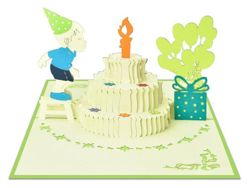 Pop Up Boy Blowing out Candle Card