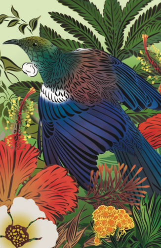 Flox Tui & Rewarewa Sage Greeting Card