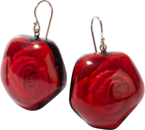 Zsiska Red Frida Rose Earrings