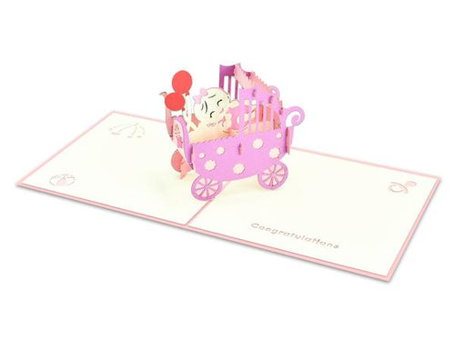 Pop Up Baby Girl in Carriage Card