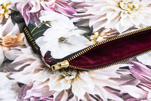 Dahlia Dream Linen Clutch Bag