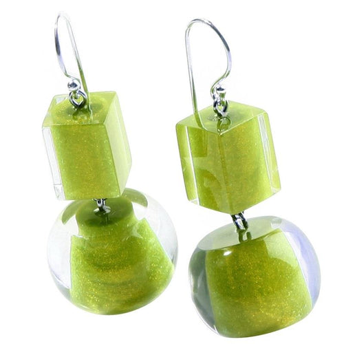 Zsiska Lime Colourful Bead & Cube Earrings
