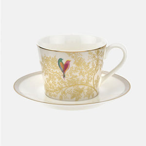 Pale Grey Lovebird Teacup and Saucer Set