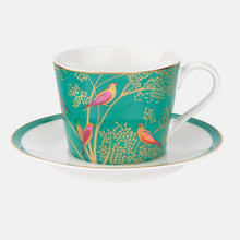 Load image into Gallery viewer, Green Bird Teacup and Saucer Set
