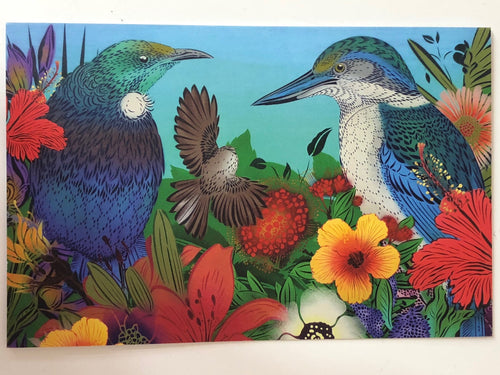Flox Tui & Kingfisher Greeting Card