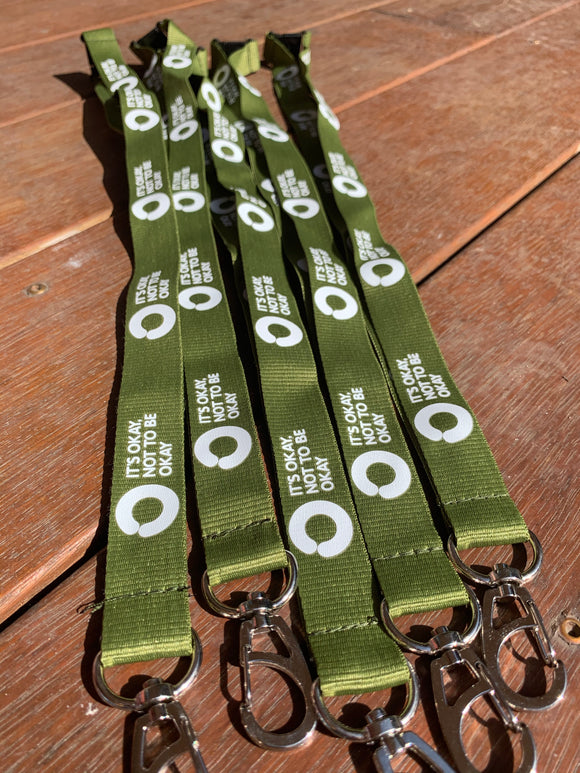 Olive Green Lanyard with Saftey Clip
